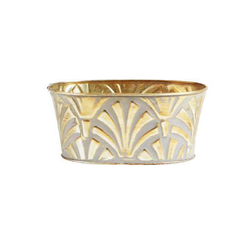 Kyrenia Metal Trough Planter Gold Whitewash 18cm