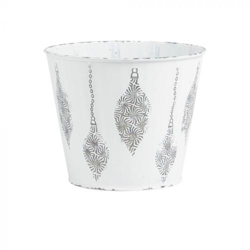 Metal Pot White With Raised Christmas Bauble Motif 17cm Diameter