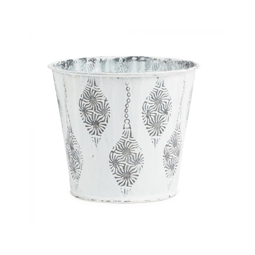 Metal Pot White With Raised Christmas Bauble Motif Set