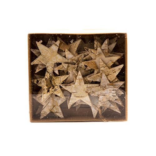 Birch Bark Stars Natural Wood 5cm