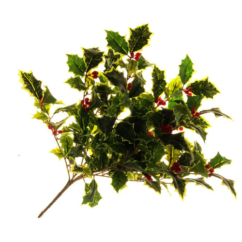 Holly Bush With Berries Artificial 50cm Variegated