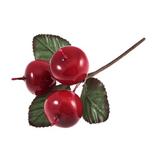 Apple Picks With Leaves 3cm Diameter Shiny Red
