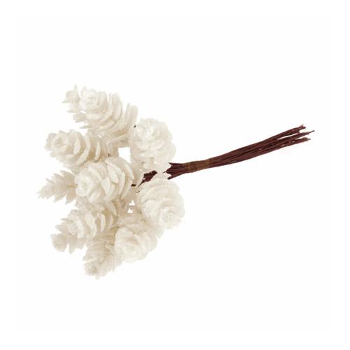 Small Artificial Pine Cones on Wire Glitter White