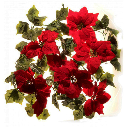 Poinsettia Christmas Garland 182cm Artificial
