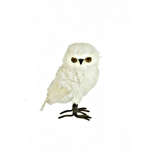 White Owl Decorative Figure Feather Wings and Tail 21cm