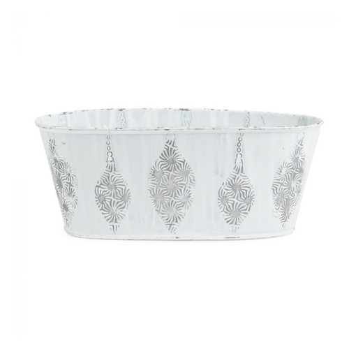 Metal Trough White With Raised Christmas Bauble Motif 24cm