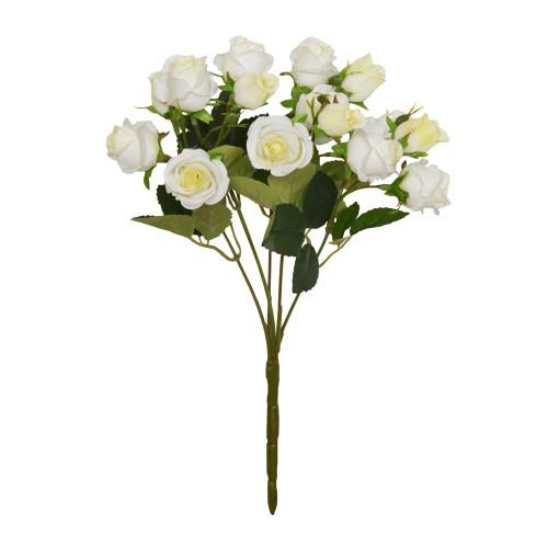 Mini Rosebud Flower Artificial Bunch White