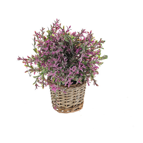 Herb Bunch In Basket Artificial 23cm/9 Inches Tall Purple