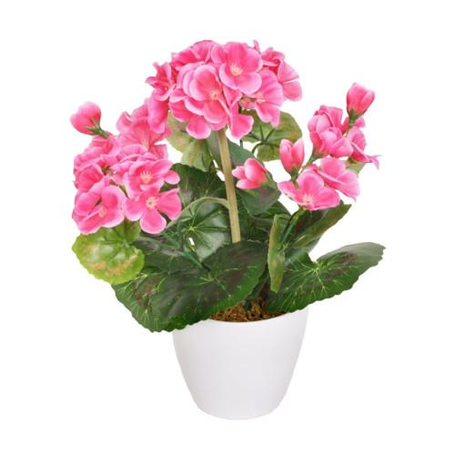 Artificial Mini Geranium in White Pot Dark Pink
