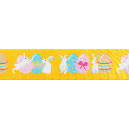 Easter Ribbon with Printed Bunny and Egg Motif Yellow