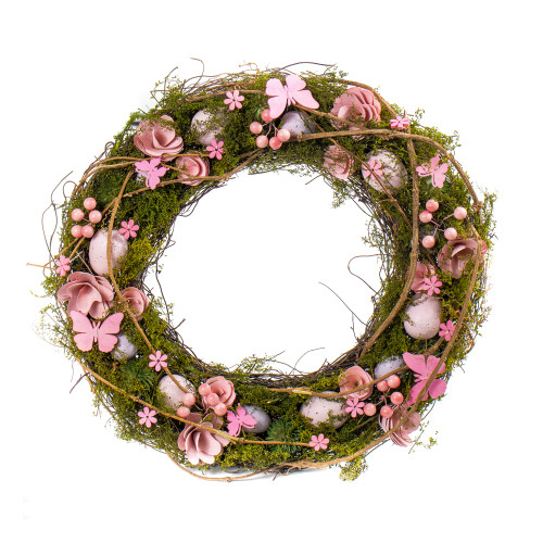 Spring Easter Twig Wreath with Eggs, Flowers and Greenery 32cm Pink