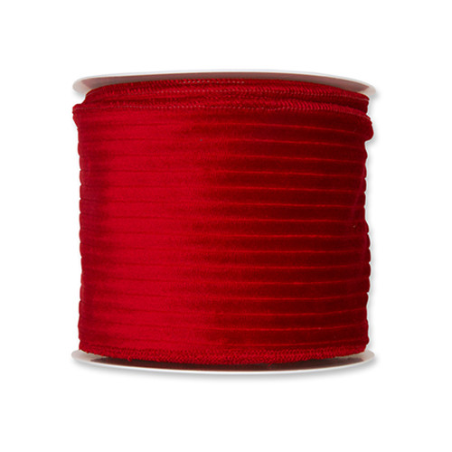 Corduroy Velvet Wired Edge Ribbon 100mm x 8m Bright Red
