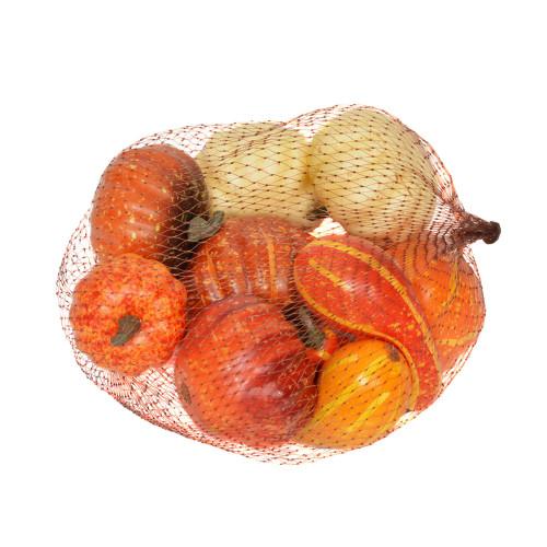 Artificial Orange Pumpkin Gourd x 10 Fruit Assortment in Bag