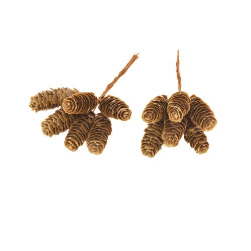 Artificial Pine Cone Pick 6cm Box of 12 Brown