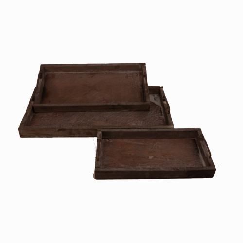 Nest Of Three Rectangular Rustic Wooden Trays