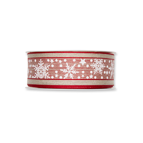 Natural Linen Colour Ribbon With Winter Snow Stars Red White