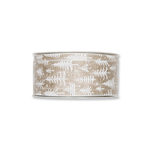 Natural Linen Colour 40mm Wide Ribbon White Trees Stars Motif
