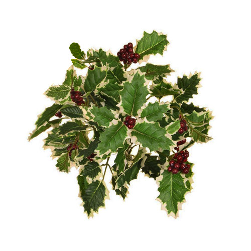 Holly Bush With Berries Artificial 40cm Variegated