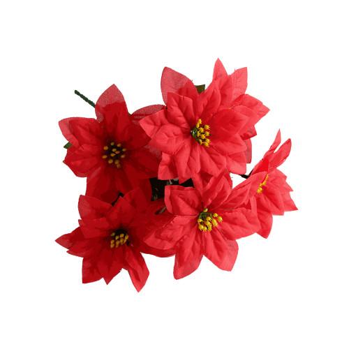 Poinsettia Bush Red Artificial 7 Stem 30cm