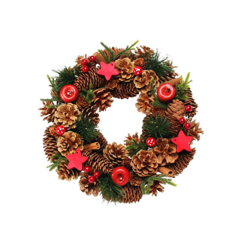 Natural Woodland Cone Winter Wreath With Red Wooden Stars 30cm