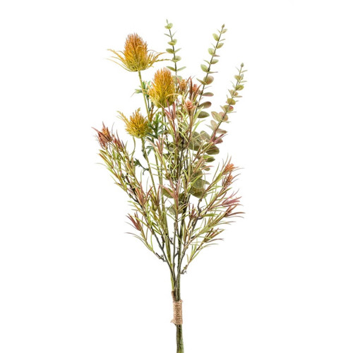 Artificial Autumn Mix Bundle Thistle Eucalyptus Herb Yellow