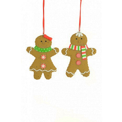 Clay Gingerbread Couple Hanging Christmas Decorations