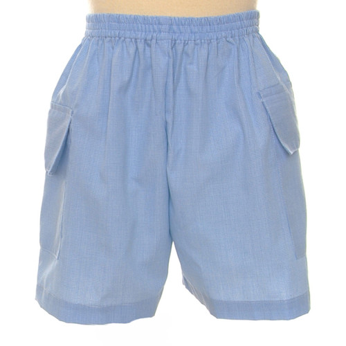 Micro Blue Gingham Cargo Short