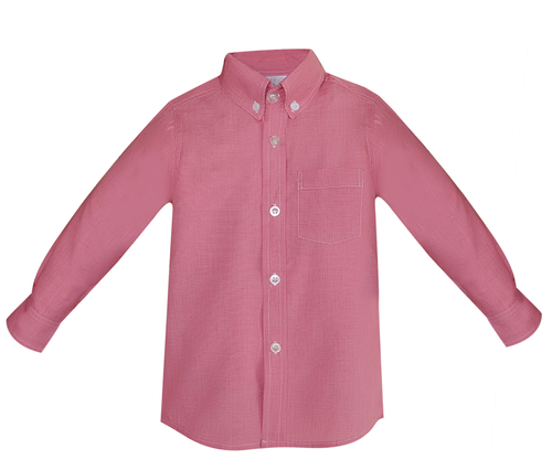 Brother Button Down Shirt- Micro Red