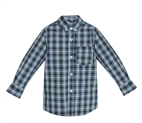 Brother Button Down Shirt- Navy Plaid