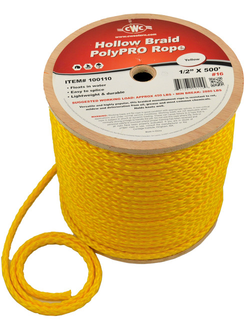 CWC® Polypro Hollow Braid Rope #100075