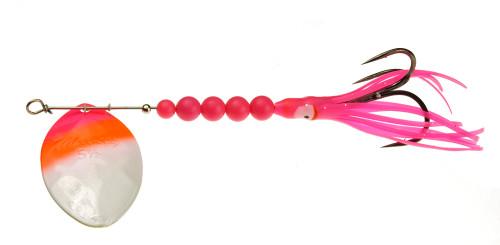 Yakima Bait Mulkey's Guide Flash UV Salmon Trolling Squid Spinner Pink Flame White 6-1/2 #6065U-PFW