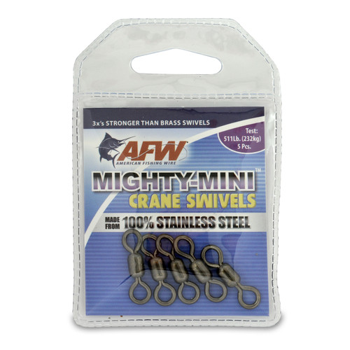 American Fishing Wire Mighty-Mini™ Stainless Steel Crane Swivels #FWSS1/0B-A