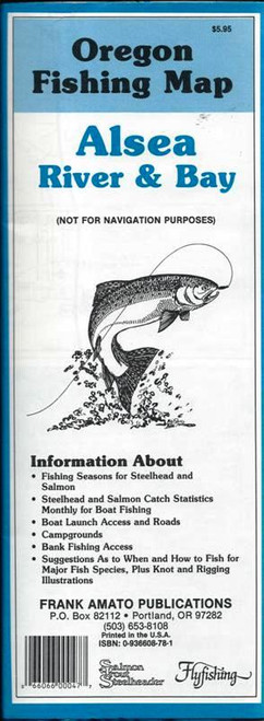 Oregon Fishing Map Alsea River & Bay Map by Frank Amato Publications #AM