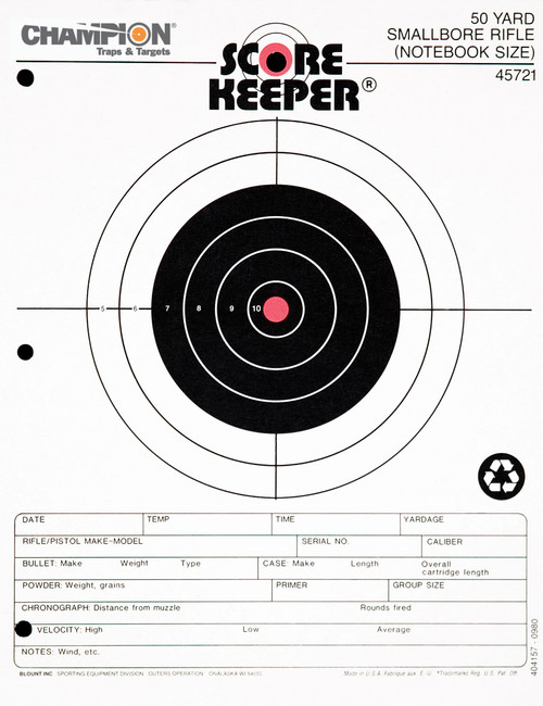 CHAMPION Scorekeeper Paper Precision Fluorescent Orange Bull 50-Yard Small Bore Rifle Notebook Target 45721 #45721