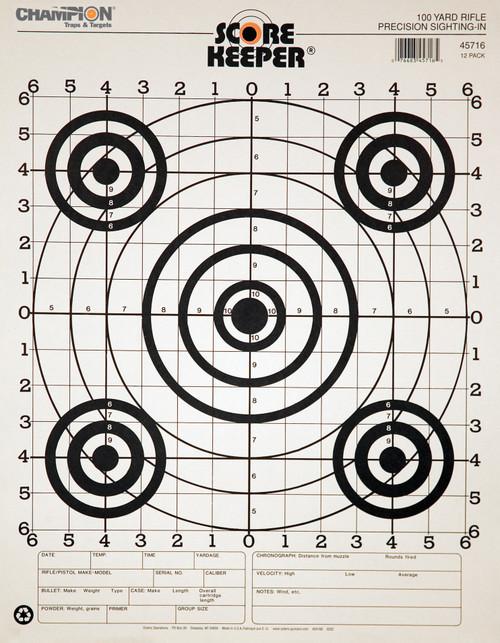 CHAMPION Scorekeeper Paper Precision Black Bull 100-Yard Rifle Sight-In Target 45716 #45716