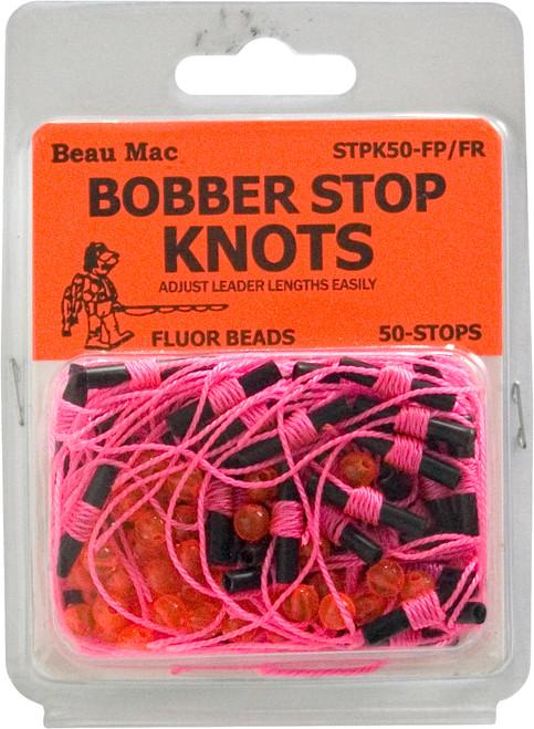 Beau Mac Bobber Stop Knots Fluorescent Pink Knot & Fluorescent Red Bead #STPK50-FP/FR