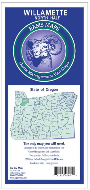 Rams Oregon Game Management Unit Maps WLLAMTTE N 671 #WILLAMETTE