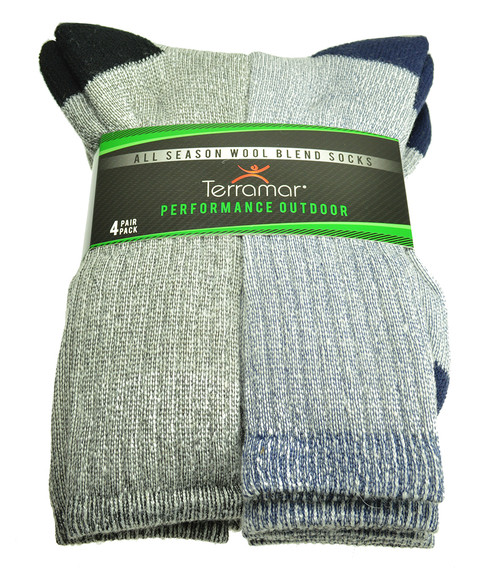 Terramar All Season Wool Blend 4-Pack Socks