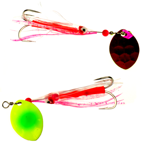 VIP Outdoors 3.5 Cascade Salmon Spinner 2-Pk BRGHT IDEA #3.5CAS-BRGTID