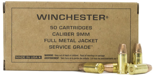 Winchester 9mm Luger 155gr FMJ FN Service Grade Ammunition #SG9W
