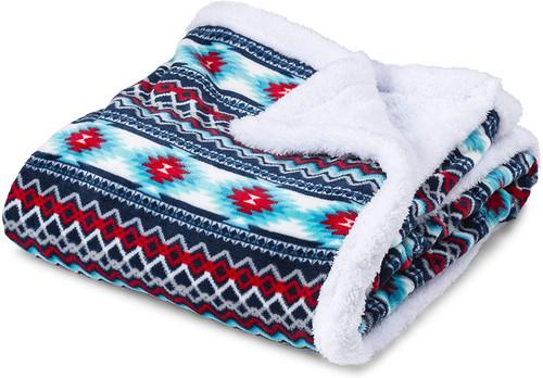 Trailcrest Plush Coral Fleece Double Layer Blanket  AZTEC R/B/W #113-36
