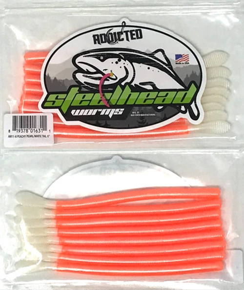 """Addicted Fishing 6"""" Steelhead Worms  PCH PRL/WHT TAIL #AW11-6"""
