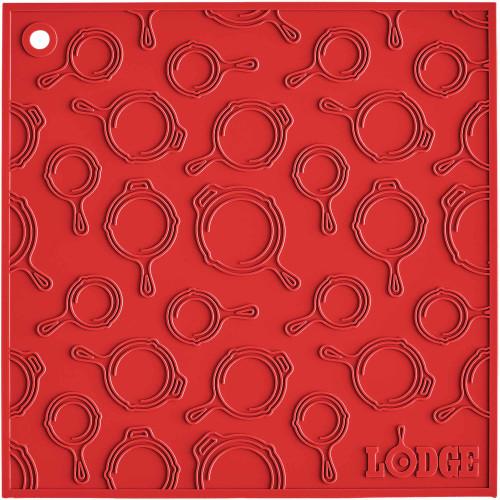 """Lodge 7""""x7"""" Red Skillet Pattern Silicone Trivet/Pot Holder"""