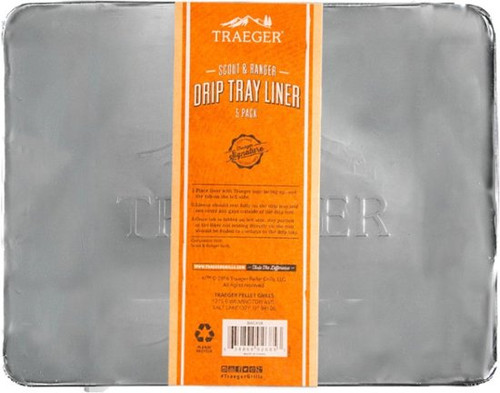 Traeger BAC458 Drip Tray Liner, Aluminum, for: Ranger and Scout Model Grills