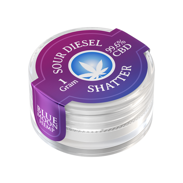 Blue Moon Hemp– Sour Diesel CBD Shatter is derived from extracted oil and ranges in its purity from 45% – 75%. Our proprietary technique allows us to purify the CBD and render it nearly flawless. A whopping 99.6% purity.