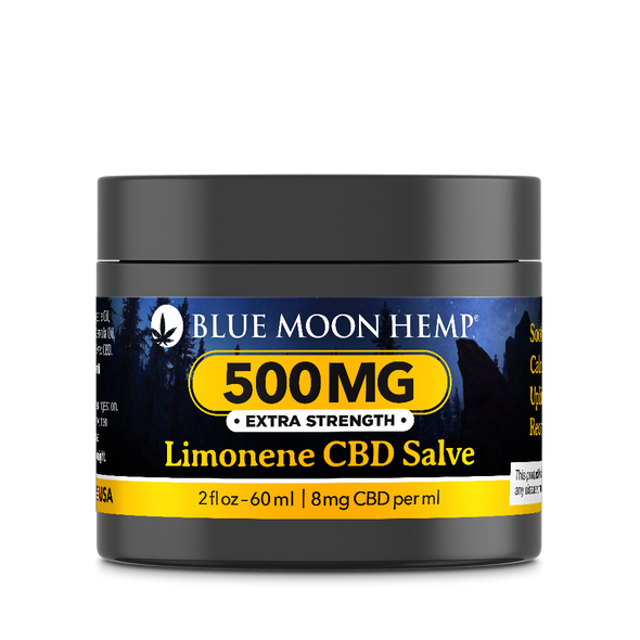 Blue Moon Hemp's CBD salve delivers a powerful formula which penetrates the skin's superficial layers and goes directly to achy joints and sore muscle tissue. This product is great for high intensity sports recovery, inflamed joints from sustained time on your feet, and general pain and soreness. Heal your body with the benefits of Limonene infused with CBD.