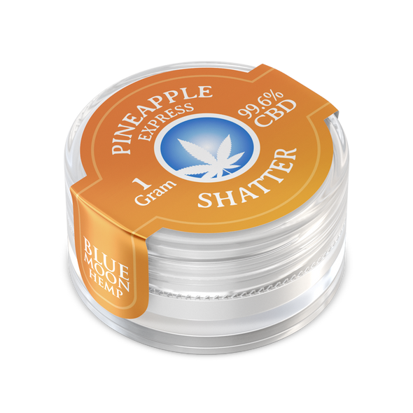 Blue Moon Hemp– Pineapple Express CBD Shatter is derived from extracted oil and ranges in its purity from 45% – 75%. Our proprietary technique allows us to purify the CBD and render it nearly flawless. A whopping 99.6% purity.