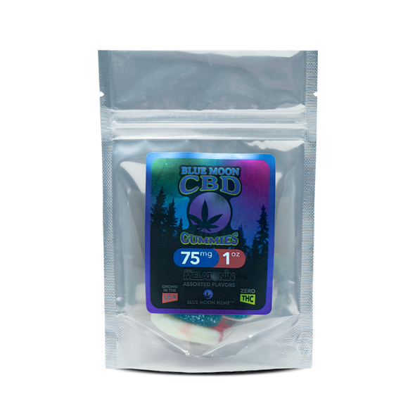 Blue Moon Hemp CBD gummies are a convenient and delicious way to get your daily serving of CBD. The Sweet-n-Sour blend of our assorted sizes and shapes makes each mouthful a delightful burst of flavor, fun and goodness. The secret behind the great taste is the infusion of CBD into the gummy instead of coating the gummy with CBD. A touch of Melatonin gives you the added benefit of a sleep aid.