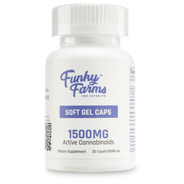 Funky Farms CBD Soft Gel Caps are some of the best that money can buy. Plus, there are never any psychoactive effects or unwanted intoxication. Combined with the absorption power of coconut-derived MCT oil, you can be sure you're enjoying the nutritive magic of CBD extract at its finest. In two potencies, 750mg and 1500mg per bottle, it's never been easier to perfectly measure out the exact CBD serving size you're intending to ingest.