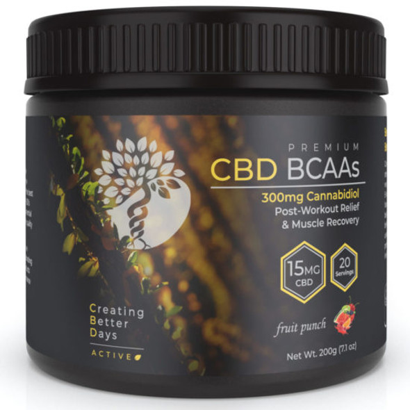 Creating Better Days Active BCAA's is packed with a unique blend of ingredients to support recovery after any workout. Post-workout BCAA's with CBD promotes muscle development and maintenance while delivering full endocannabinoid support for better recovery and better performance. Engineered for all types of athletes and enthusiasts the innovative formula plus CBD kick starts workout recovery through reducing inflammation while promoting protein synthesis which plays an important role in muscle building.
